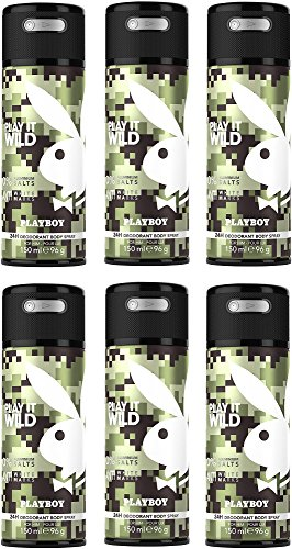 Playboy Play It Wild Deo Body Spray, 6er Pack (6x150ml)