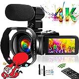 ビデオカメラ4K YouTubeカメラ 4800万画素 18倍デジタルズーム WIFI機能 タッチスクリーン 暗視機能 外付けマイク 最大128GBカード レンズフード付き 予備バッテリあり 360°遠隔操作 日本語取扱説明書 日本語システム