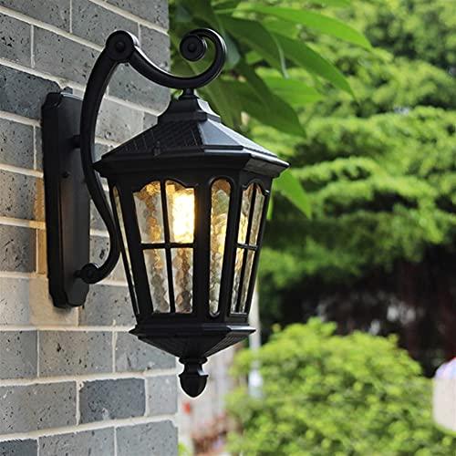 Luz de la pared europea Antigua linterna de la pared vintage al aire libre al aire libre impermeable de pared escono claro acabado negro decoración E27 lámpara de pared a prueba de oxidación 15 pulgad