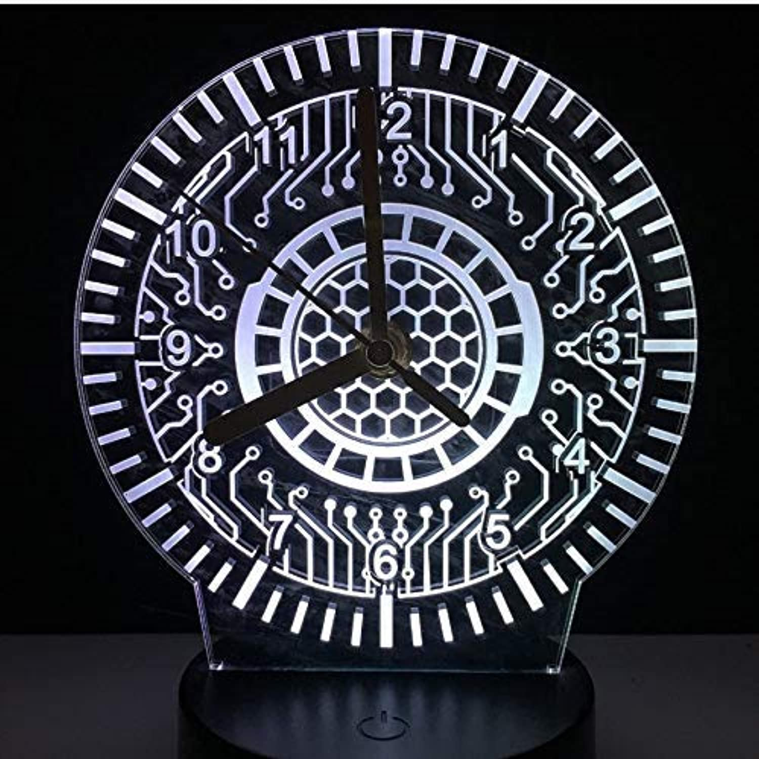 BMY Acrylic Clock Lam3D Night Light Led Touch Switch 7 color Change Sensor Desk Table Lamp Le3D USB Lamp