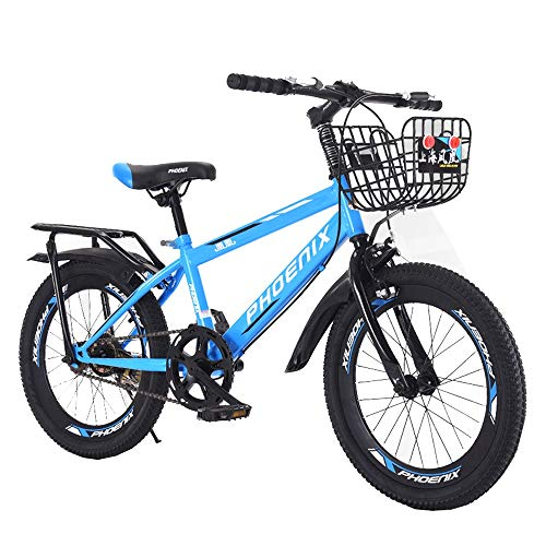 BAOMEI Kids Bike 18/20 Inch Kids Outdoor Bicycle 7-Speed Adjustable,for 7-14Years Old Boys and Girls Adjustable Children Mountain Bike,Red,Blue, White (Color : Blue, Size : 18in)
