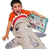 Shark Tail Animal Blanket for Boys. Soft Plush Shark Sleeping Bag Blanket for Kids. Blankie Fun Fin Gray Sleeping Bag. Snuggle Double-Sided Minky Fabric Throw. Warm and Cozy for Boys Kids