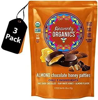 Heavenly Organics Almond Chocolate Honey Patties, Made with 100% Organic Cocoa and 100% Organic Raw White Honey; Non-GMO, Fair Trade, Kosher, Dairy & Gluten Free, No Sugar Added 12 per Bag -3 Pack