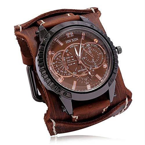 BAOFU Reloj de Cuarzo Joyería Pulsera Reloj Antiguo para Hombres Club Nocturno Reloj Fresco Nuevo Reloj de Moda para Estudiantes Largo (incluida la Hebilla) Cierre de Acero Inoxidable de 30 cm