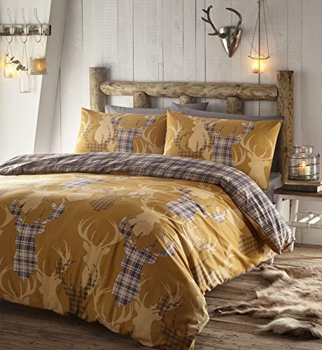 Portfolio Tartan Stag Quilt Duvet Cover Bed Set, Polycotton, Mustard, Single