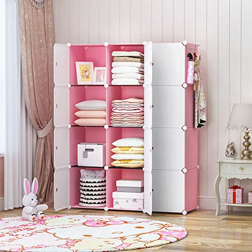 GEORGE&DANIS Portable Closet Wardrobe Dresser Armoire Plastic Storage Cube Organizer for Teenagers Kids Shelf, Pink, 14 inches Depth, 3x4 Tiers