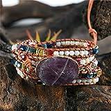 QIUXIANG-EU Frauen Männer Leder Armband Natursteine Wickelarmband Frau Handgemachte Boho Armband Mode Geschenke