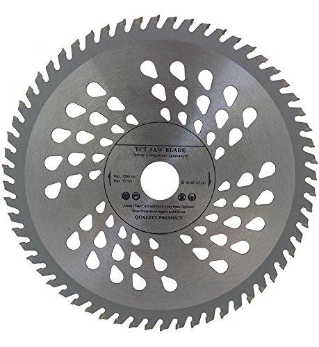 Hoja de sierra circular de calidad superior (sierra de habilidad) 180 mm x 22,22 mm (16 mm y 20 mm con anillo de reducción) para discos de corte de madera circulares 180 mm x 22,22 mm x 60 dientes