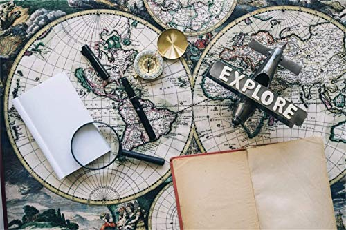 10x6.5ft Retro Northern and Southern Hemisphere Map Airplane Pocket Watch Pen Books Polyester Photography Background Nostalgia Style Backdrop Adult Portrait Shoot Indoor Decors Wallpaper Studio