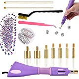 Applicatore Hotfix strass Setter kit Setter strass Hotfix applicatore, include 7 punte di diverse dimensioni, pinzette, spazzola di pulizia, 2 matite e strass decorativi