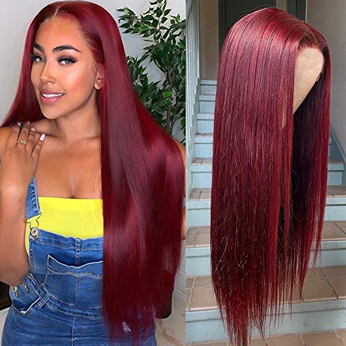 Pre Plucked Lace Frontal Wig - ORANGE STAR 13x4 Lace Front 99j Wig Straight Human Hair Long Straight Wigs For Women Colored Burgundy Lace Wigs 150% Handtied 24\