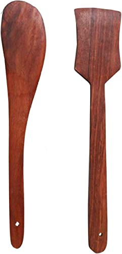 ECOPAL Multipurpose Wooden Cooking Spoon Utensils Set For Non Stick Cookware And Serving Handmade Wooden Spatula Pack Of 2