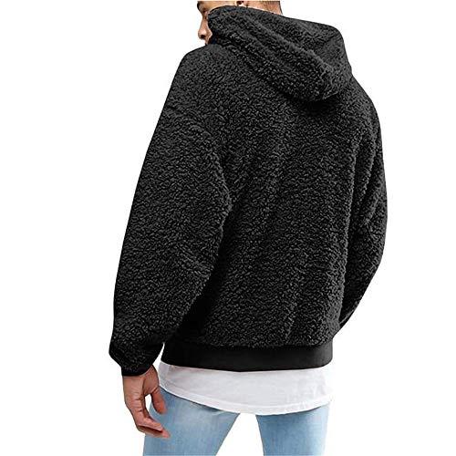 NLZQ - Sudadera con capucha de manga larga y cómoda para hombre, diseño casual, con cordón de ajuste y bolsillo A-black XXL