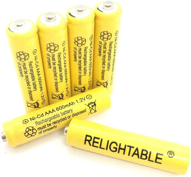 Relightable NiCd AA/AAA 600mAh 1.2V Rechargeable Batteries for Solar Lights, Garden Lights and Remotes (6PCS AAA 600mAh Batteries)