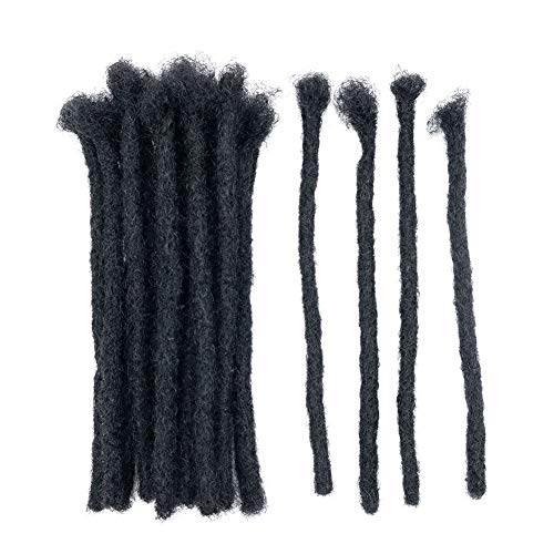8 Inch Human Hair Dreadlocks Extensions 20 Strands Full Handmade Fashion Style Crochet Locs Extensions (Width 1cm)