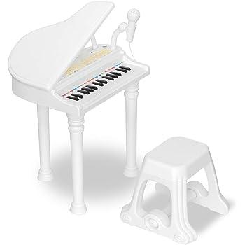 RiZKiZ グランドピアノ 【ホワイト】 知育玩具 3歳 キッズ用ピアノ 子供用 楽器 おもちゃ 子供用 マイク イス付き 録音 多機能 再生