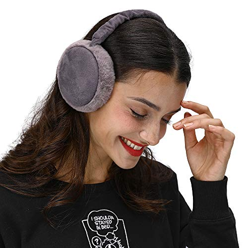 LETHMIK Winter Ear Muffs Outdoor,Mens&Womens Faux Fur Foldable Earmuffs Ear Warmer Cold Weather Grey