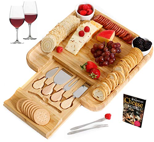 Cheese Board and Cutlery Set   Large Wooden Bamboo Serving Platter Tray for Charcuterie, Wine, Crackers, Meat   2 Ceramic Bowls 6 Piece Cutlery Set   Ideal Gift Birthday Wedding + FREE Cheese Guide
