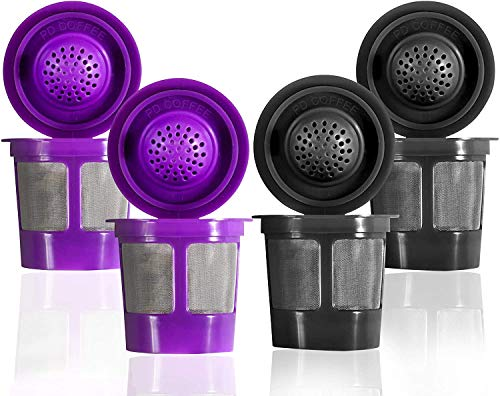 Reusable Filter Cups For Keurig 2.0 & 1.0 Brewers Universal Fit For Easy To Use Refillable Single Cup Coffee Filters (4-Pack ) - Fits Most Keurig K-Cup Brewers (Black - Purple)