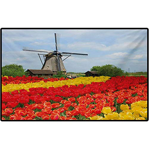 Windmill Decor Mat Rugs Rows of Colorful Tulips in Northern Europe Rural Garden Bed Picturesque Summer Indoor Outdoor, Waterproof,Mat for Floor, Patio 60' x 30' Multicolor