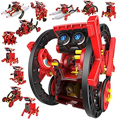 CIRO Solar Robots Kit Science Toy, 12 in 1 Kids STEM Robot Kits, 190 Piece Building Toy Science Experiments Robot for Kids Aged10, 11, 12, 13 Years and Up Boy and Girls, Solar Powered Engine Robotics