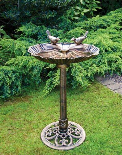 Traditional Weatherproof Pedestal Garden Bird Bath Wild Birds care - Weather Resistant Bronze Effect Top Oyster Shell Shape Table Free Standing Pedestal 81cm