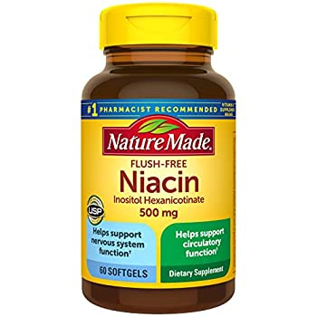 Nature Made Niacin 500mg Flush-Free Softgels 60 Count Helps Support Nervous System Function