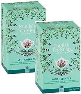 DEU English Tea Shop Bio-Grüntee mit Pfefferminze und grüner Minze - 2 x 20 Teebeutel 80 Gramm