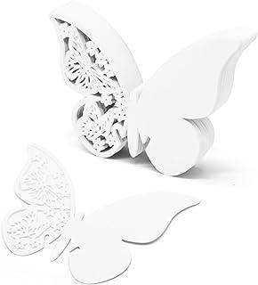 Okaytec 100 Pieza Tarjetas Mariposas de Copas como Detalle de Boda Decoración de Mesa para Invitaciones de Comunión Bautizo Agradecimiento Fiesta cumpleaños - Etiqueta Papel Decorativo para Invitados