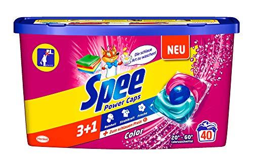 Spee Power Caps Color 3+1, Colorwaschmittel, 40 Waschladungen, Reinheit, Strahlkraft und Frische für deine Buntwäsche zum schlauen Preis, 20-60°