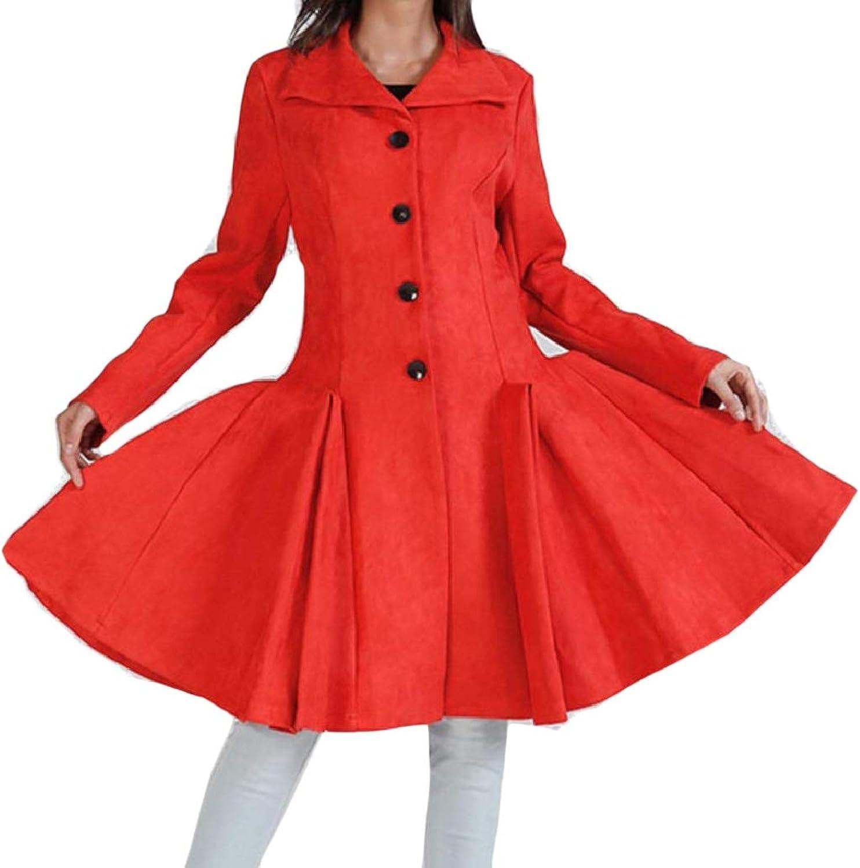 TaoNice Women Woolen Swing Lapel Jacket Overcoat Single Button Coat