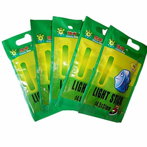 TOOGOO 25pzs / 5 Bolsas 4.5x37mm Varilla Palo de luz Fluorescente Flotador Luminoso de Pesca de Noche Palo Resplandor Oscuro Luces Herramientas de Pesca