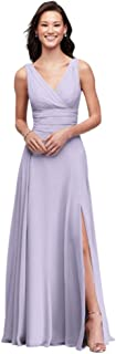 Long Chiffon Surplice Tank Bridesmaid Dress Style F19831