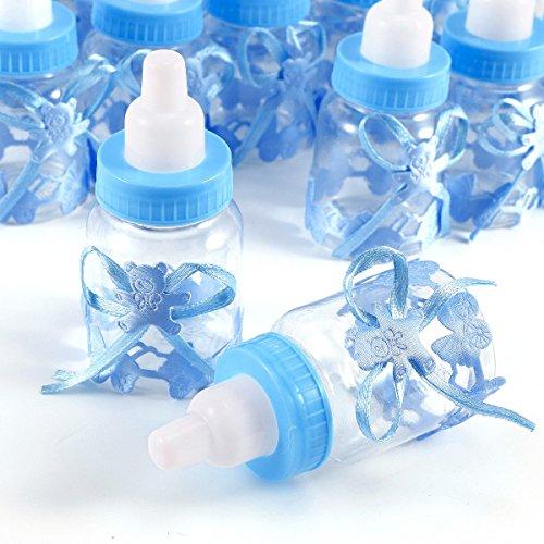 JZK 24 Azul biberones Botella Botellas Caja Caramelos Dulces Porta Caramelos Dulces Confeti Regalo para Nacimiento Bautizo cumpleaños Fiesta Bienvenida Bebe Sagrada comunión bebé niño