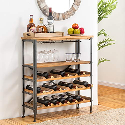 Glitzhome Wood Wine Rack 5-Tier Free Standing Wine Racks Wine Storage Rack 21-Bottle Stackable Capacity Wine Rack Display Shelves with Glass Holder Rack Wobble Free for Home Kitchen Dining Room Bar