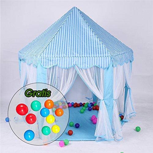 Aquagart® Kinderzelt Kinderspielzelt inklusive 10 Spielbällen Spielzelt Bällebad Prinzessinnenzelt Kinderschloss Spielzelt (Blau)