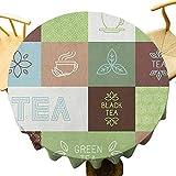 VICWOWONE Mantel de fiesta de té – Mantel redondo de 35 pulgadas con diseño de cuadros, con motivos geométricos, de colores suaves, minimalistas, apto para camping, verde, marrón, azul