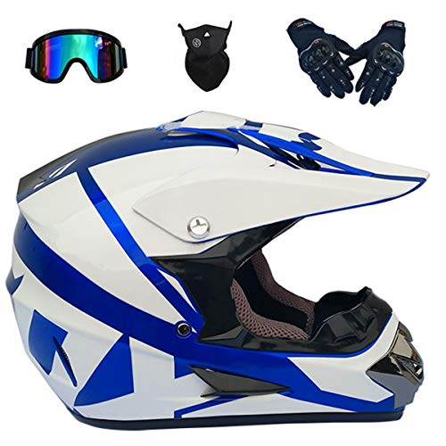 LCRAKON Casco de Moto - MJH-01 Casco de Moto de Cross con Gafas - Casco de Motocross para Niños Adultos de Full Face Off-Road Downhill Quad Bike MX ATV BMX Casco - Blanco Azul - S/M/L/XL