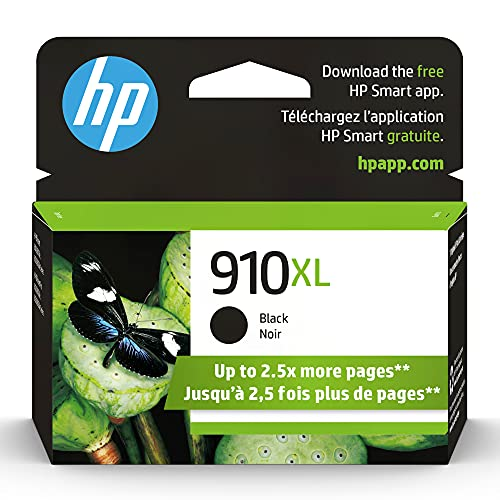 Original HP 910XL Black High-yield Ink Cartridge | Works with HP OfficeJet 8010, 8020 Series, HP OfficeJet Pro 8020, 8030 Series | Eligible for Instant Ink | 3YL65AN