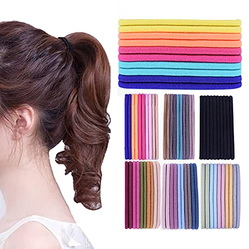 Lujun Elastic Seamless Hair Ties,Candy-colored Rubber Band Head Rope,High Elastic Hair Loop,Hair Accessories for Women Perfect for Long Lasting Braids, Ponytails and More - Pain-Free