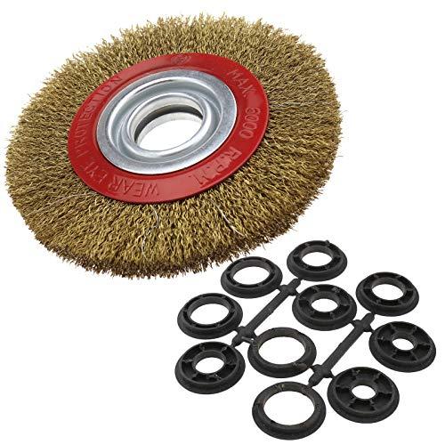 Cepillo limpiador circular metálico Ototec con cerdas de alambre de acero para esmeriladora de banco. 125 150 200 cm, 150 mm