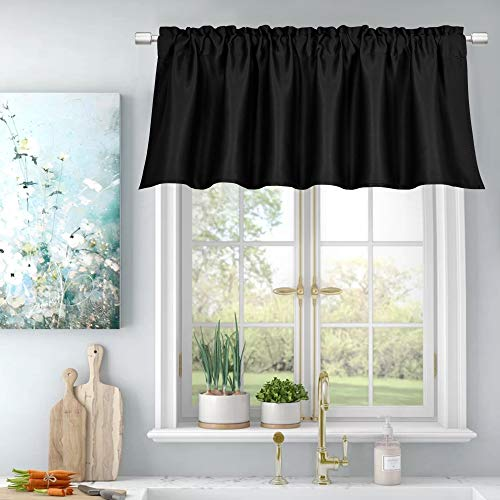 Privacy Protection Blackout Window Valance for Bedroom Living Room Energy Efficient Rod Pocket Curtain Valance 18 Inch,52X18 Per Panel,Black,Single