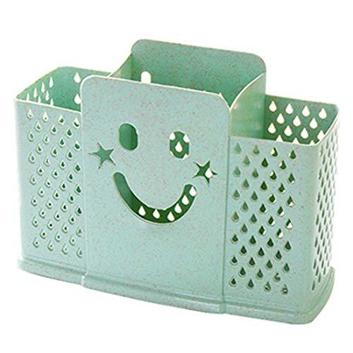 Porte-ustensile de cuisine suspendu Smiley Face en plastique, panier à provisions, support de séchage, couverts, organisateur, vert