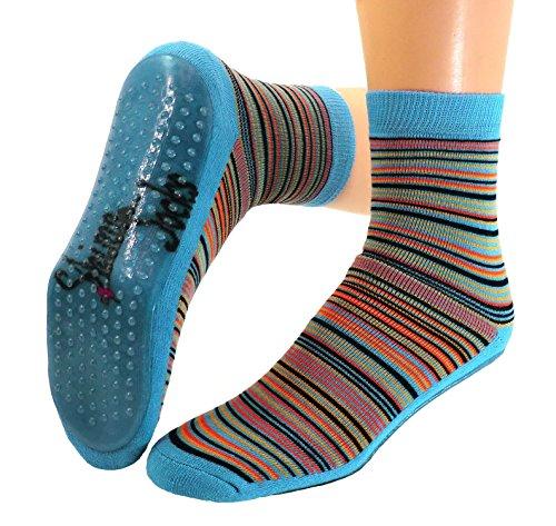Kinder Antirutsch Stopper Socken geringelt, Farben alle:türkis, Größe:31/34 bzw. 122/128