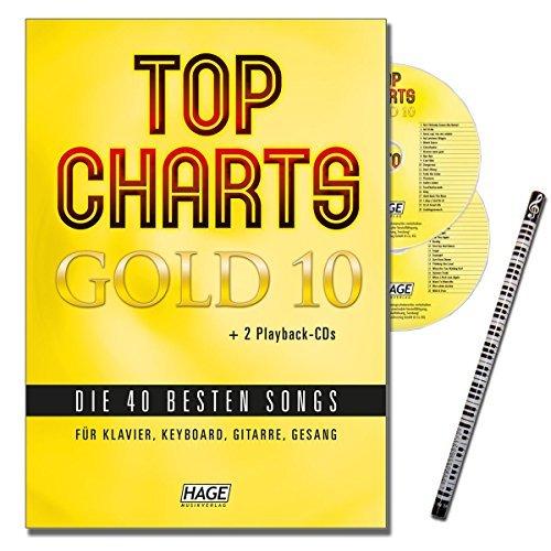 Top Charts Gold 10 met pianostift + 2 cd's: het leuke songboek met de 40 beste songs gearrangeerd voor piano, keyboard, gitaar en zang [muzieknoten - editie december 2015]