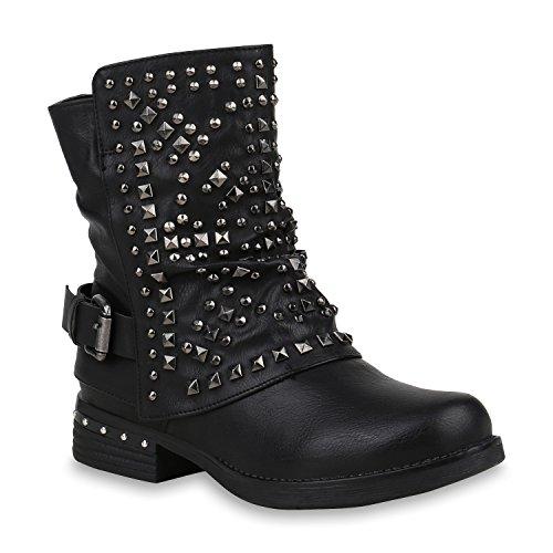 Damen Schuhe Biker Boots Warm Gefütterte Stiefel Nieten Stiefeletten 153007 Schwarz Total Berkley 36 Flandell