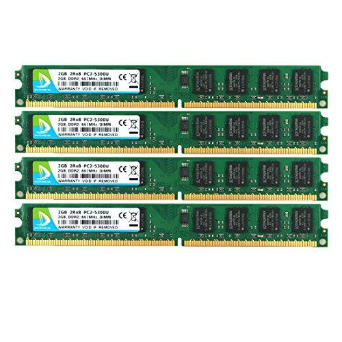 DUOMEIQI Kit de 8GB (4 x 2GB) 2RX8 DDR2 667MHz DIMM PC2-5300 PC2-5400 CL5 1.8v 240 Pin 5300U Non-ECC Memoria RAM de Escritorio sin búfer Módulo Compatible con el Sistema Intel AMD