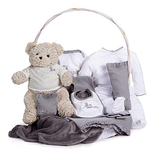 BebeDeParis | Regalos Originales para Bebés Recién Nacidos | Canastilla Bebé Clásica | Cesta de Regalo Bebé Personalizada | 3-6 Meses (Gris)