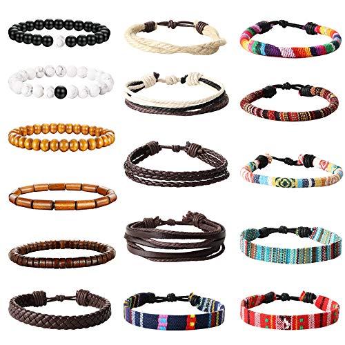 YADOCA 15-18 Stück Leder Chakra Bead Tribal Armband (Unisex) National Charme Handgestrickt Boho Hanf Holz Perlen String Armbänder für Männer Frauen Mädchen Armbänder