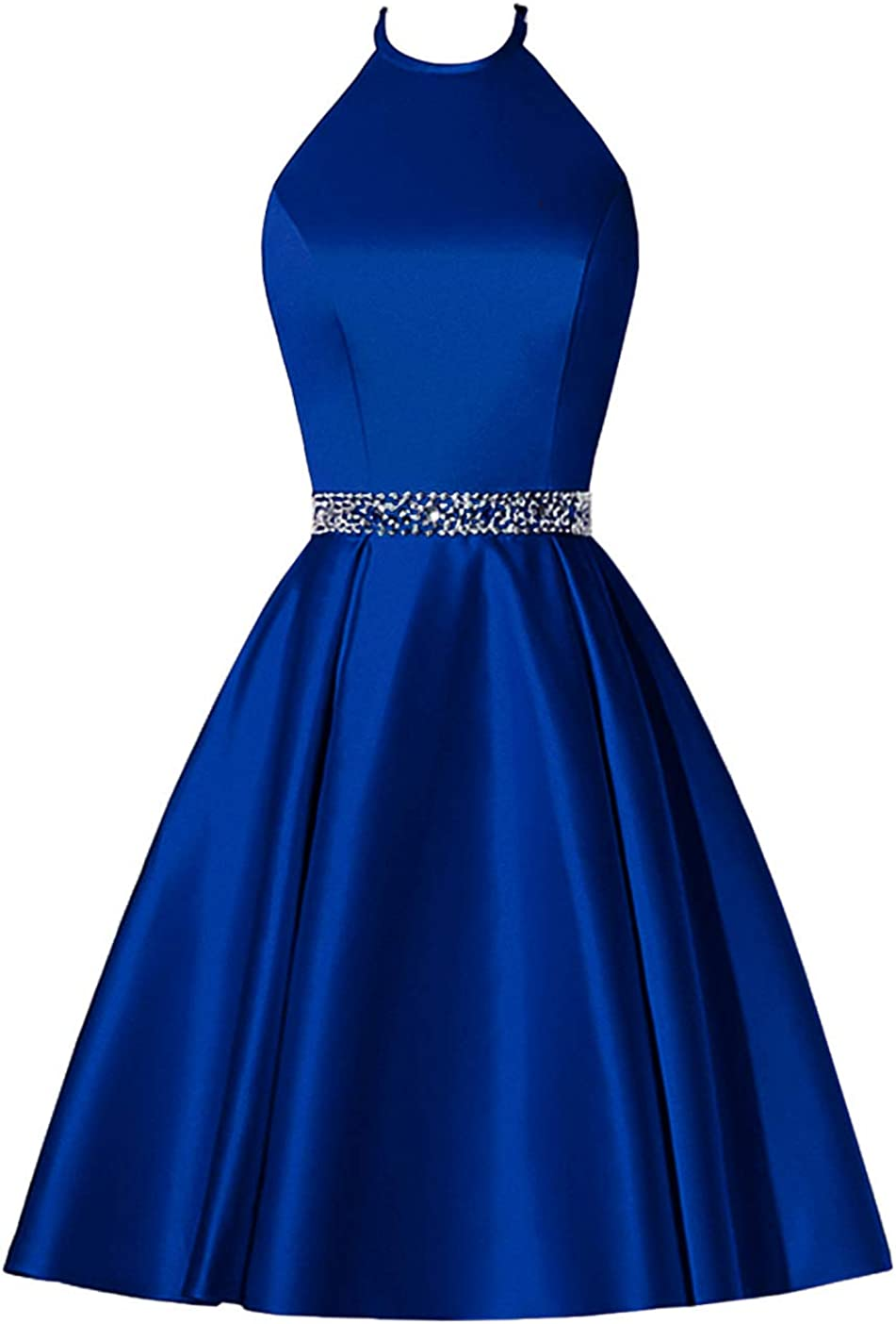 Molisa Short Prom Dress Halter Homecoming Dresses with Pockets Satin Cocktail Party Dress Evening Gown